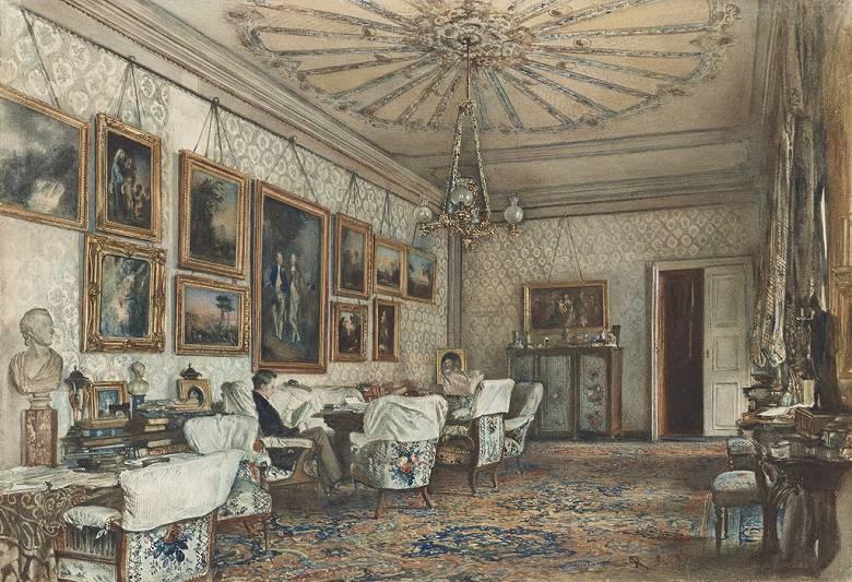油絵 油彩画 絵画 複製画 ルドルフ・フォン・アルト ウィーンのアパートの応接間 P10サイズ P10号 530x410mm すぐに飾れる豪華額縁付きキャンバス