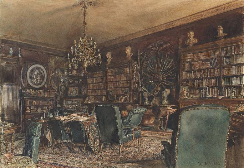 絵画 インテリア 額入り 壁掛け複製油絵 ルドルフ・フォン・アルト ウィーンのアパートの図書室 P15サイズ P15号 652x500mm 油彩画 複製画 選べる額縁 選べるサイズ