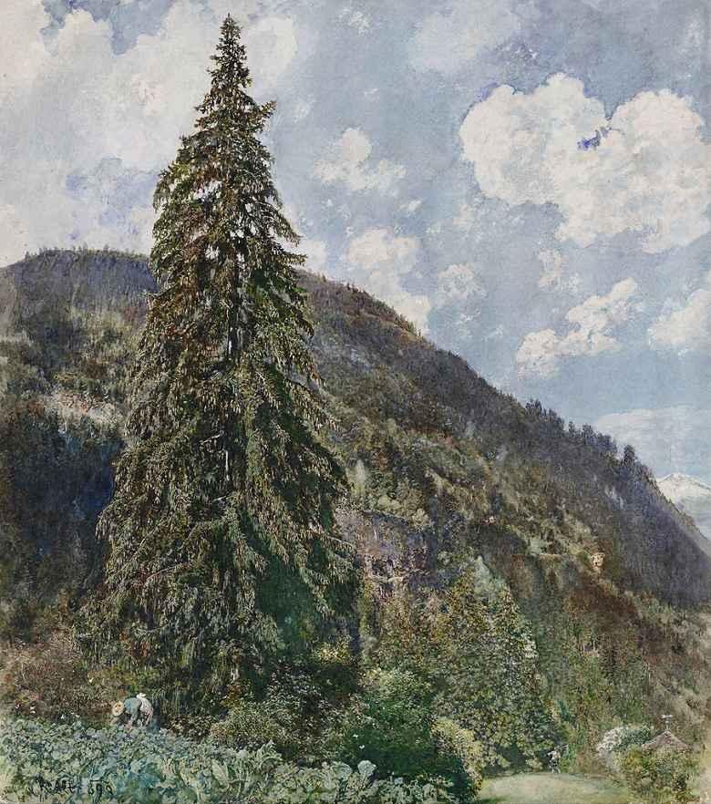 油絵 油彩画 絵画 複製画 ルドルフ・フォン・アルト バード・ガスタインの古い針葉樹 F10サイズ F10号 530x455mm すぐに飾れる豪華額縁付きキャンバス