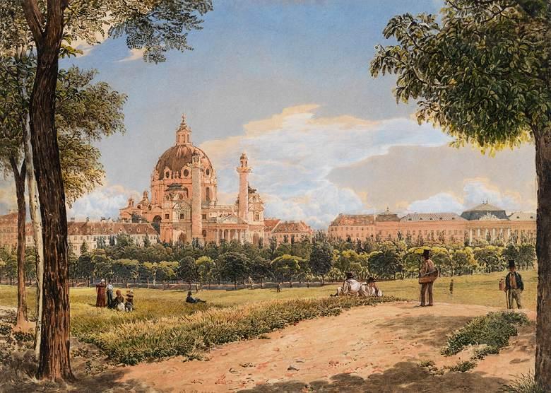 油絵 油彩画 絵画 複製画 ルドルフ・フォン・アルト ウィーンのカールス教会と工科大学の眺め P10サイズ P10号 530x410mm すぐに飾れる豪華額縁付きキャンバス