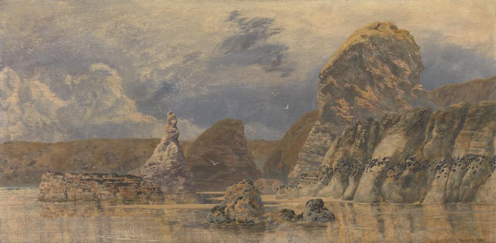 絵画 インテリア 額入り 壁掛け複製油絵ジョン・ブレット 海の風景 F15サイズ F15号 652x530mm 油彩画 複製画 選べる額縁 選べるサイズ