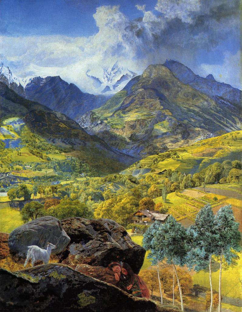 油絵 油彩画 絵画 複製画 ジョン・ブレット ヴァッレ・ダオスタ自治州 F10サイズ F10号 530x455mm すぐに飾れる豪華額縁付きキャンバス