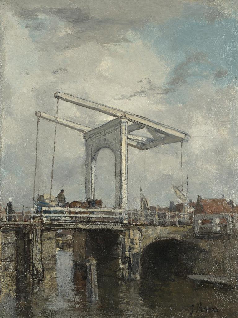 絵画 インテリア 額入り 壁掛け複製油絵 ヤコブ・マリス オランダの街のはね橋 F15サイズ F15号 652x530mm 油彩画 複製画 選べる額縁 選べるサイズ