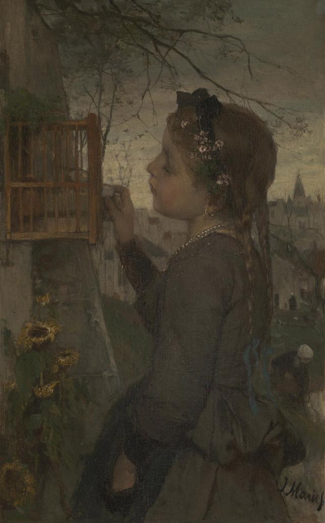 ヤコブ・マリス 籠の中の鳥に餌を与える少女 F30サイズ F30号 910x727mm 条件付き送料無料  額縁付絵画 インテリア 額入り 壁掛け複製油絵 ヤコブ・マリス