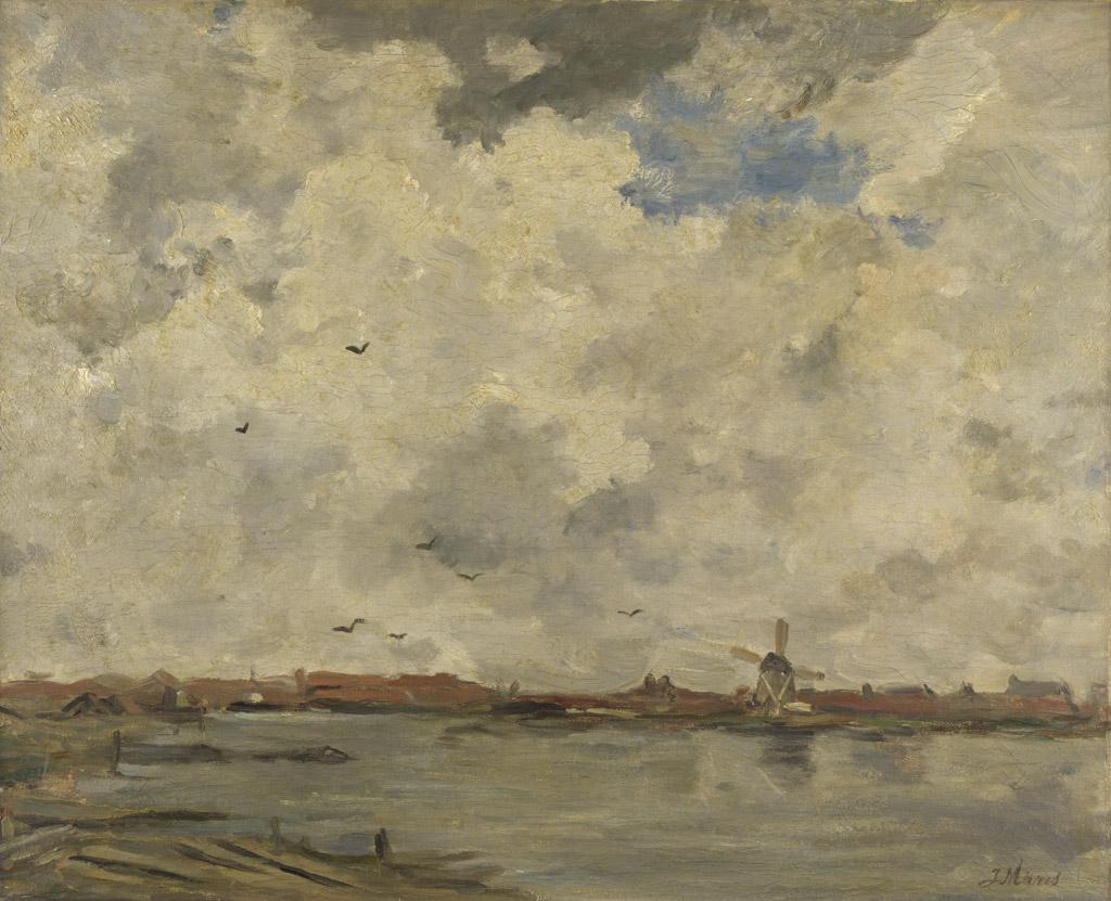油絵 油彩画 絵画 複製画 ヤコブ・マリス 嵐の空 F10サイズ F10号 530x455mm すぐに飾れる豪華額縁付きキャンバス