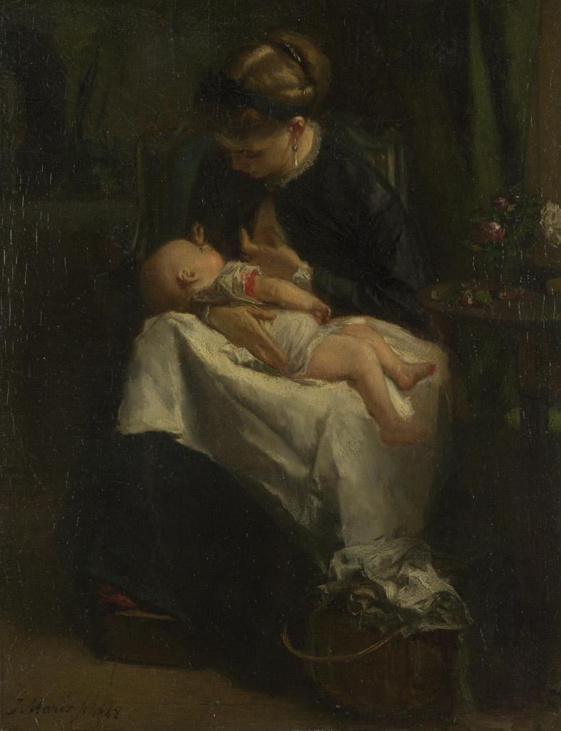 絵画 インテリア 額入り 壁掛け複製油絵 ヤコブ・マリス 赤ちゃんに授乳している若い女性 F15サイズ F15号 652x530mm 油彩画 複製画 選べる額縁 選べるサイズ