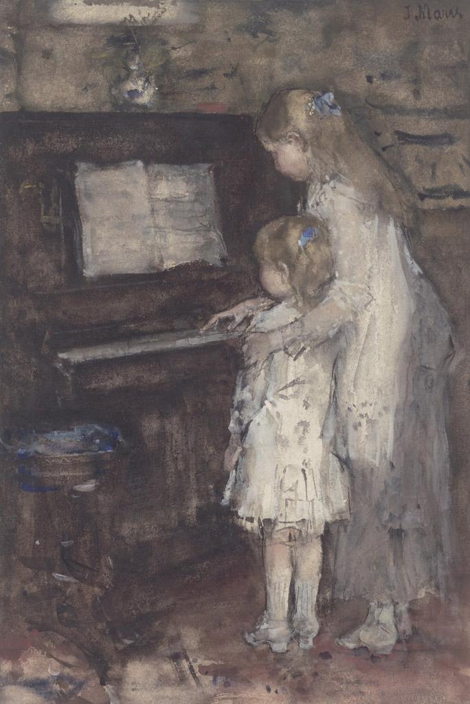 油絵 油彩画 絵画 複製画 ヤコブ・マリス ピアノの前の画家の娘たち F10サイズ F10号 530x455mm すぐに飾れる豪華額縁付きキャンバス