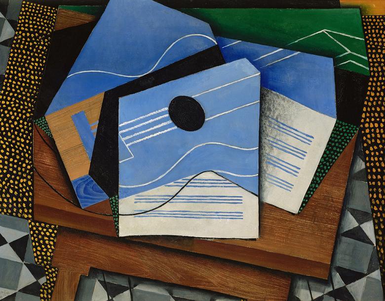 絵画 インテリア 額入り 壁掛け複製油絵フアン・グリス テーブルの上のギター F20サイズ F20号 727x606mm 絵画 インテリア 額入り 壁掛け 油絵