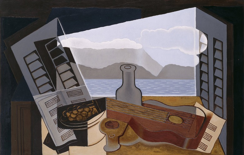 油絵 油彩画 絵画 複製画 フアン・グリス 開いた窓 M10サイズ M10号 530x333mm すぐに飾れる豪華額縁付きキャンバス