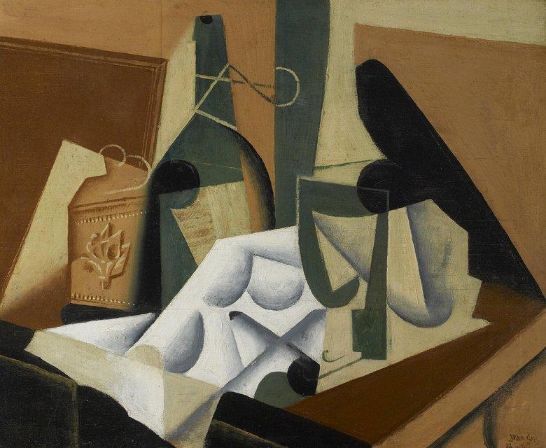 油絵 油彩画 絵画 複製画 フアン・グリス 白いテーブルクロス F10サイズ F10号 530x455mm すぐに飾れる豪華額縁付きキャンバス