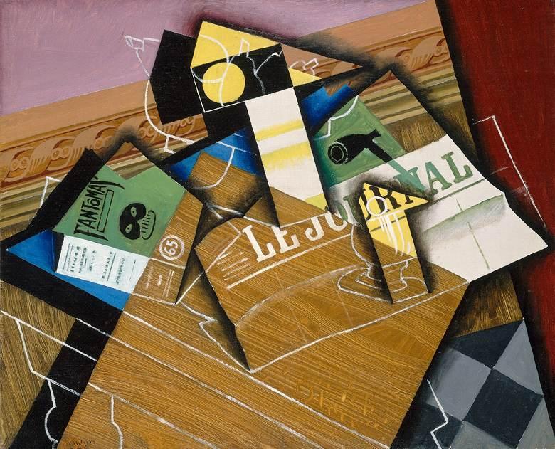 【送料無料】絵画 油彩画複製油絵複製画/フアン・グリス ファントマ F8サイズ F8号 455x380mm すぐに飾れる豪華額縁付きキャンバス