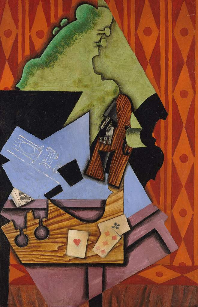油絵 油彩画 絵画 複製画 フアン・グリス テーブルの上のヴァイオリンとトランプ M10サイズ M10号 530x333mm すぐに飾れる豪華額縁付きキャンバス