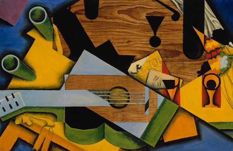 フアン・グリス ギターのある静物 M30サイズ M30号 910x606mm 条件付き送料無料 絵画 インテリア 額入り 壁掛け複製油絵フアン・グリス