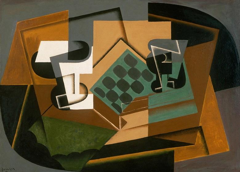 油絵 油彩画 絵画 複製画 フアン・グリス チェス盤とグラスと皿 P10サイズ P10号 530x410mm すぐに飾れる豪華額縁付きキャンバス