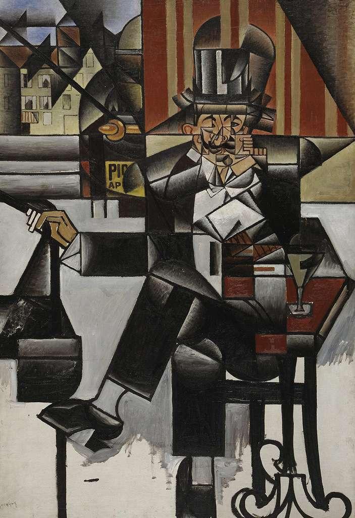 【送料無料】絵画 油彩画複製油絵複製画/フアン・グリス カフェの男性 P8サイズ P8号 455x333mm すぐに飾れる豪華額縁付きキャンバス