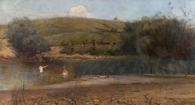 油絵 チャールズ・コンダー ヤラ川、ハイデルベルク  F12サイズ F12号  606x500mm 油彩画 絵画 複製画 選べる額縁 選べるサイズ