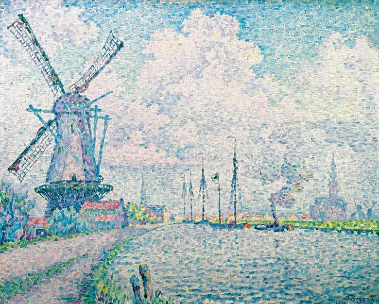 絵画 インテリア 額入り 壁掛け複製油絵 ポール・シニャック オーヴェルシーの運河 F15サイズ F15号 652x530mm 油彩画 複製画 選べる額縁 選べるサイズ