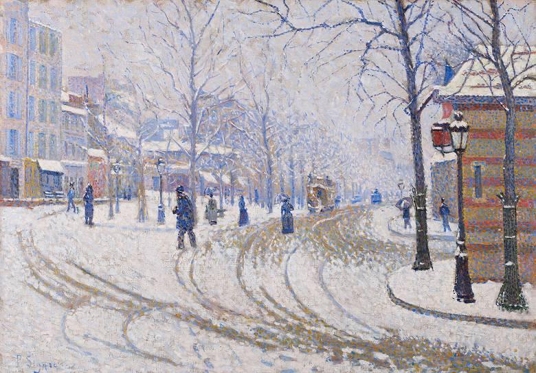 油絵 油彩画 絵画 複製画 ポール・シニャック 雪のクリシー通り、パリ P10サイズ P10号 530x410mm すぐに飾れる豪華額縁付きキャンバス