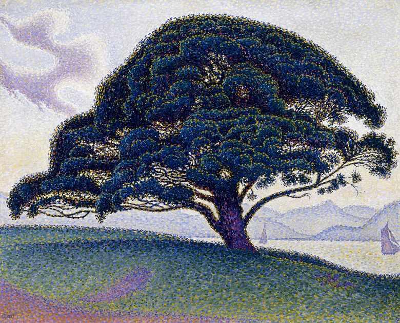 油絵 油彩画 絵画 複製画 ポール・シニャック 笠松 F10サイズ F10号 530x455mm すぐに飾れる豪華額縁付きキャンバス