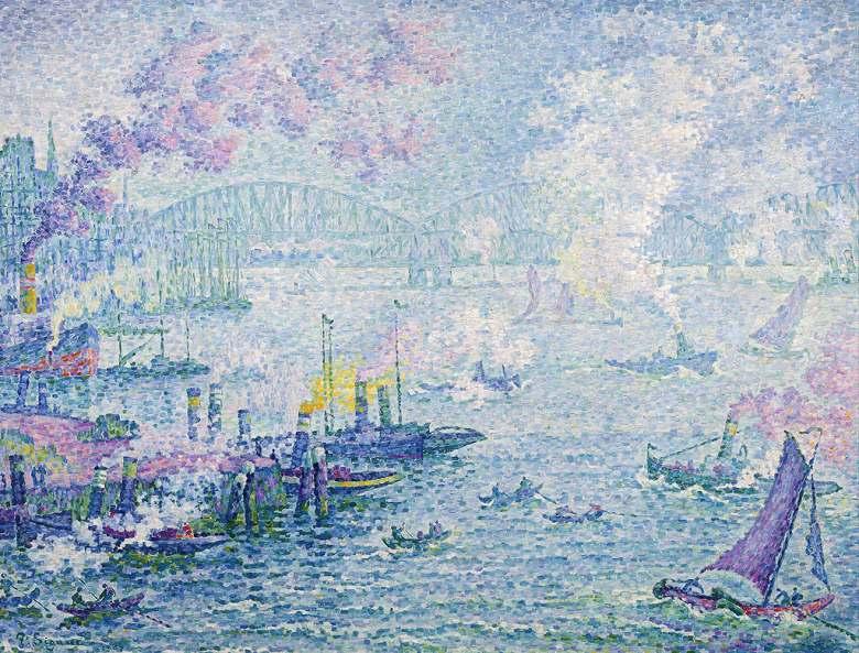 絵画 インテリア 額入り 壁掛け複製油絵 ポール・シニャック ロッテルダムの港 P15サイズ P15号 652x500mm 油彩画 複製画 選べる額縁 選べるサイズ