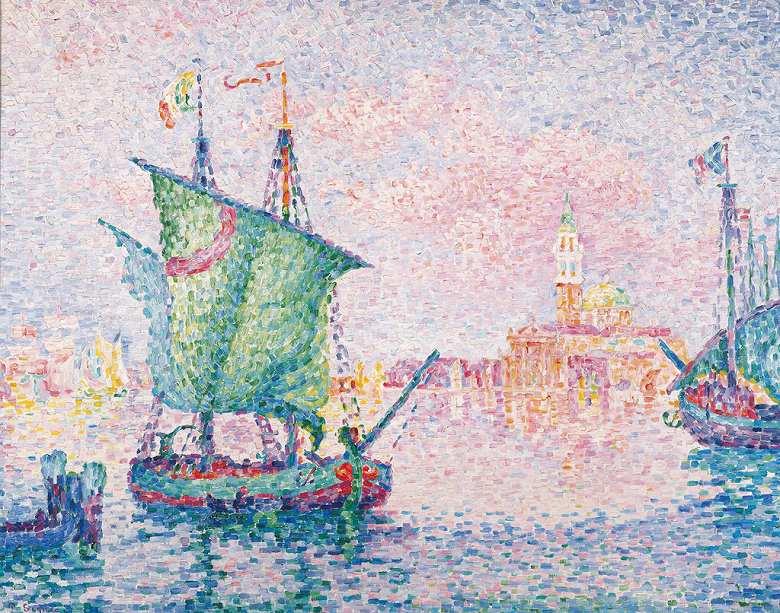 ポール・シニャック ピンク色の雲がかかるヴェネツィア F30サイズ F30号 910x727mm 条件付き送料無料  額縁付絵画 インテリア 額入り 壁掛け複製油絵 ポール・シニャック