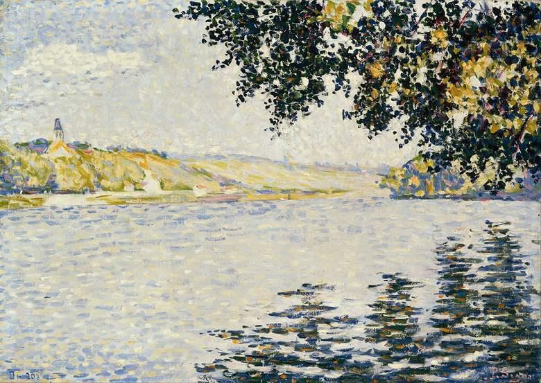 絵画 インテリア 額入り 壁掛け複製油絵 ポール・シニャック エルブレでのセーヌ川の眺め P15サイズ P15号 652x500mm 油彩画 複製画 選べる額縁 選べるサイズ