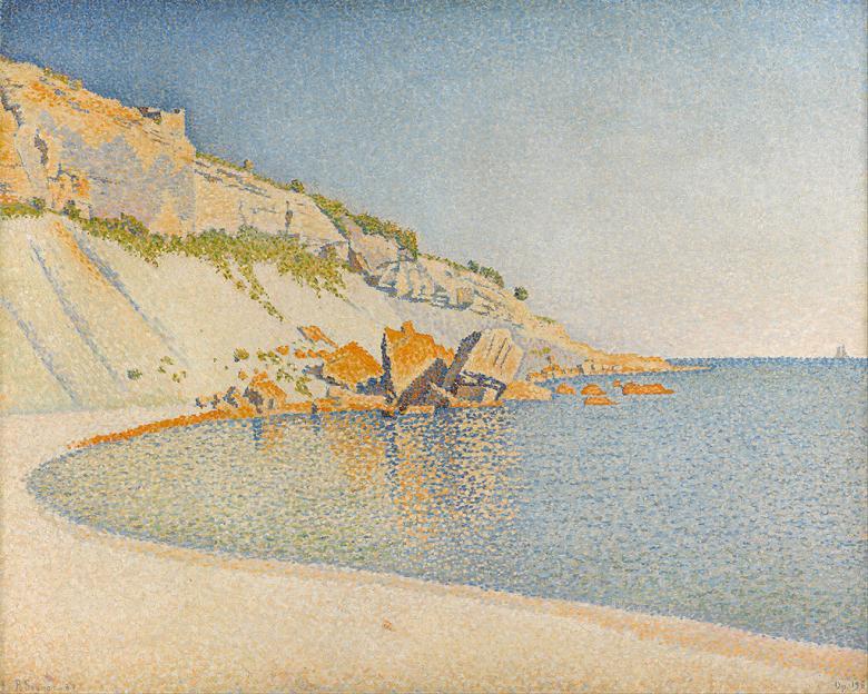 油絵 油彩画 絵画 複製画 ポール・シニャック カシス、ロンバール岬 F10サイズ F10号 530x455mm すぐに飾れる豪華額縁付きキャンバス