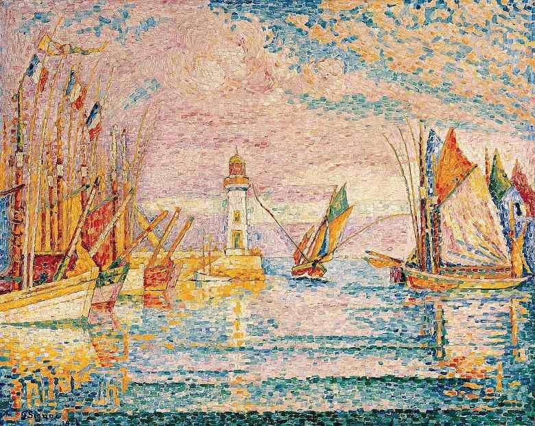 油絵 油彩画 絵画 複製画 ポール・シニャック グロワ島の灯台 F10サイズ F10号 530x455mm すぐに飾れる豪華額縁付きキャンバス