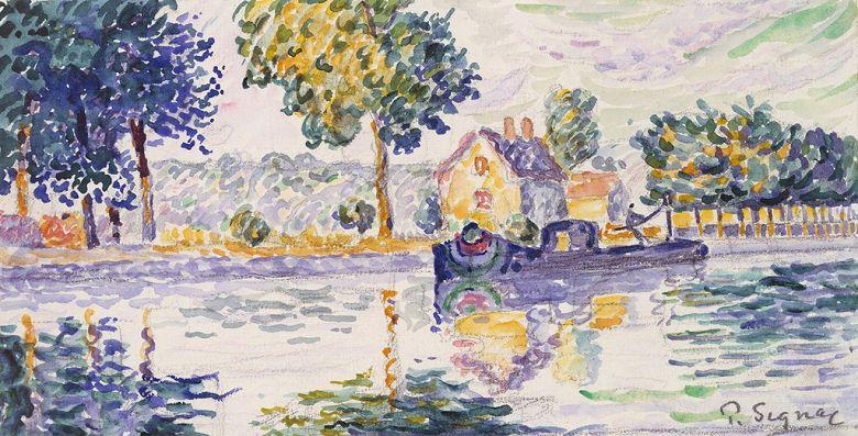 絵画 インテリア 額入り 壁掛け複製油絵 ポール・シニャック サモワでのセーヌ川の眺め F15サイズ F15号 652x530mm 油彩画 複製画 選べる額縁 選べるサイズ