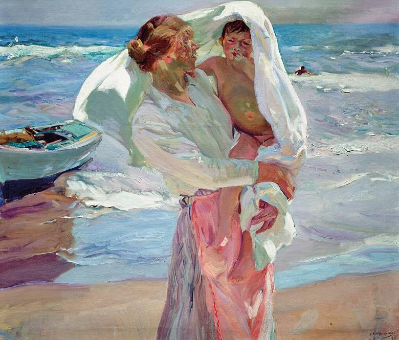 油絵 油彩画 絵画 複製画 ホアキン・ソローリャ 入浴後 F10サイズ F10号 530x455mm すぐに飾れる豪華額縁付きキャンバス
