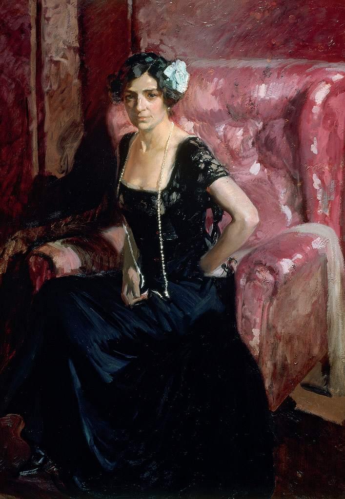 絵画 インテリア 額入り 壁掛け複製油絵 ホアキン・ソローリャ 黒いドレスを着た画家の妻 P15サイズ P15号 652x500mm 油彩画 複製画 選べる額縁 選べるサイズ