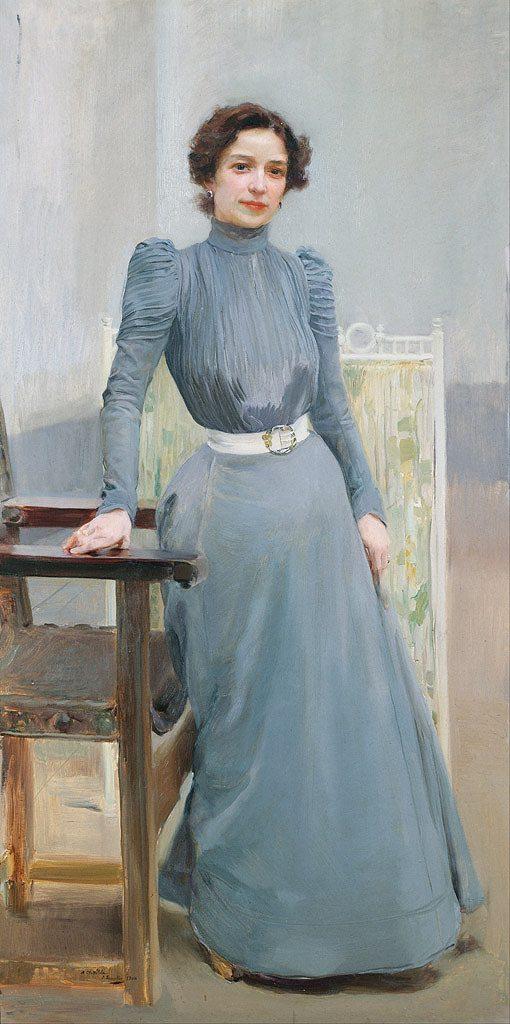 ホアキン・ソローリャ 灰色のドレスを着た画家の妻 F30サイズ F30号 910x727mm 絵画 インテリア 額入り 壁掛け複製油絵 ホアキン・ソローリャ