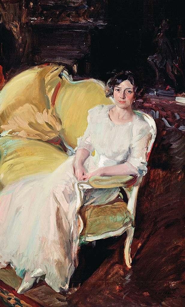 絵画 インテリア 額入り 壁掛け複製油絵 ホアキン・ソローリャ ソファーに座る画家の妻 M15サイズ M15号 652x455mm 油彩画 複製画 選べる額縁 選べるサイズ