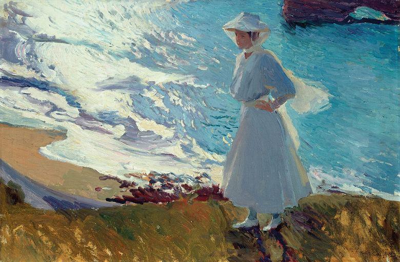 ホアキン・ソローリャ ビアリッツの浜辺にいる画家の娘 M30サイズ M30号 910x606mm 条件付き送料無料 絵画 インテリア 額入り 壁掛け複製油絵 ホアキン・ソローリャ
