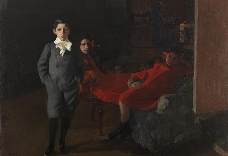 【送料無料】絵画 油彩画複製油絵複製画/ ホアキン・ソローリャ 画家の子供たち P8サイズ P8号 455x333mm すぐに飾れる豪華額縁付きキャンバス