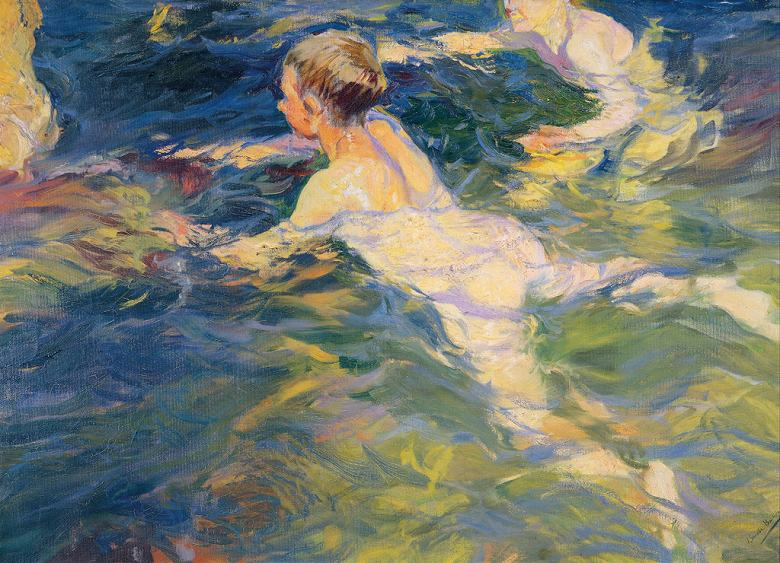 ホアキン・ソローリャ 泳ぐ人たち、ハベア P30サイズ P30号 910x653mm 条件付き送料無料 絵画 インテリア 額入り 壁掛け複製油絵 ホアキン・ソローリャ