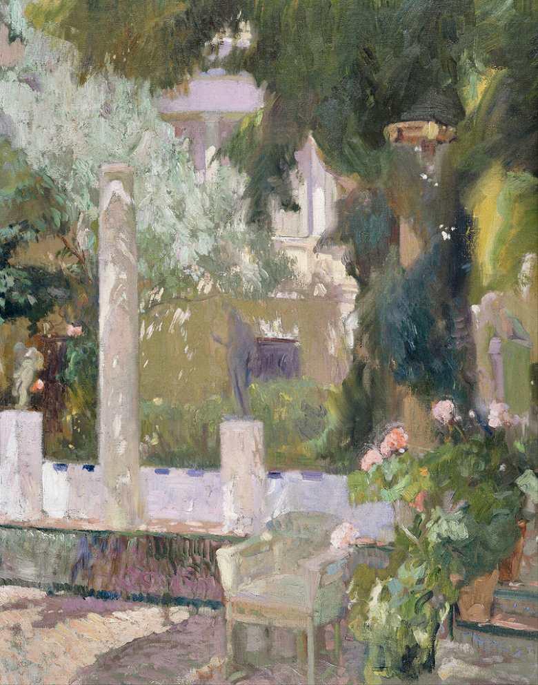 ホアキン・ソローリャ 画家の家の庭 F30サイズ F30号 910x727mm 条件付き送料無料  額縁付絵画 インテリア 額入り 壁掛け複製油絵 ホアキン・ソローリャ