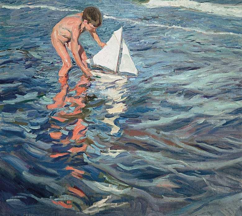 絵画 インテリア 額入り 壁掛け複製油絵 ホアキン・ソローリャ 小さな船 F15サイズ F15号 652x530mm 油彩画 複製画 選べる額縁 選べるサイズ