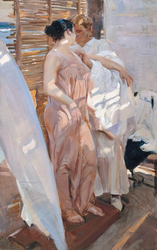 油絵 油彩画 絵画 複製画 ホアキン・ソローリャ ピンク色のローブ、入浴後 M10サイズ M10号 530x333mm すぐに飾れる豪華額縁付きキャンバス