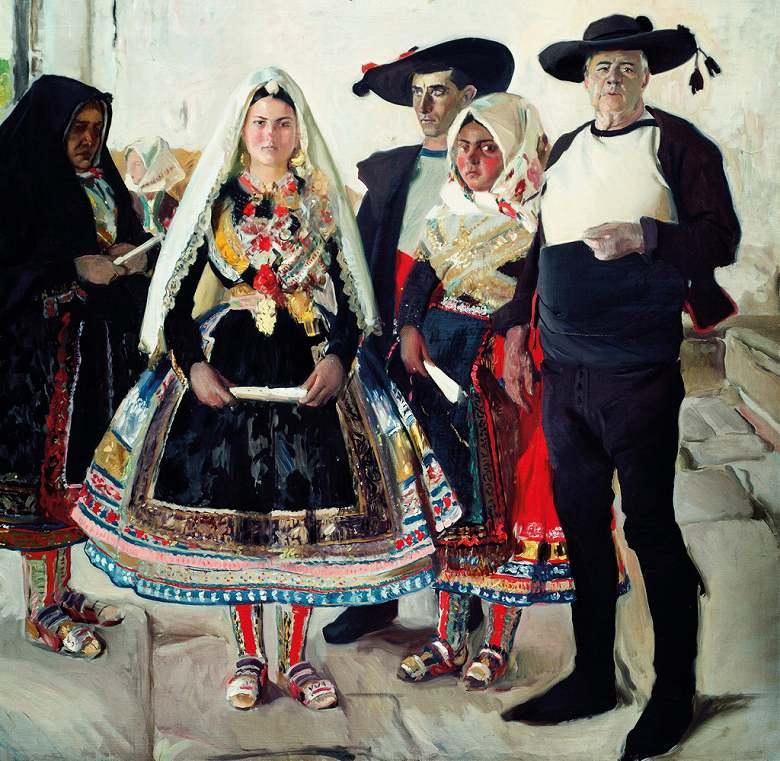 油絵 油彩画 絵画 複製画 ホアキン・ソローリャ ラガルテラの花嫁 F10サイズ F10号 530x455mm すぐに飾れる豪華額縁付きキャンバス
