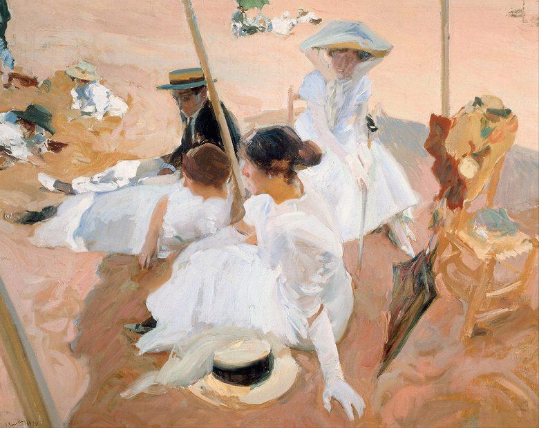 油絵 油彩画 絵画 複製画 ホアキン・ソローリャ 日よけの下で、サラウツの浜辺 F10サイズ F10号 530x455mm すぐに飾れる豪華額縁付きキャンバス