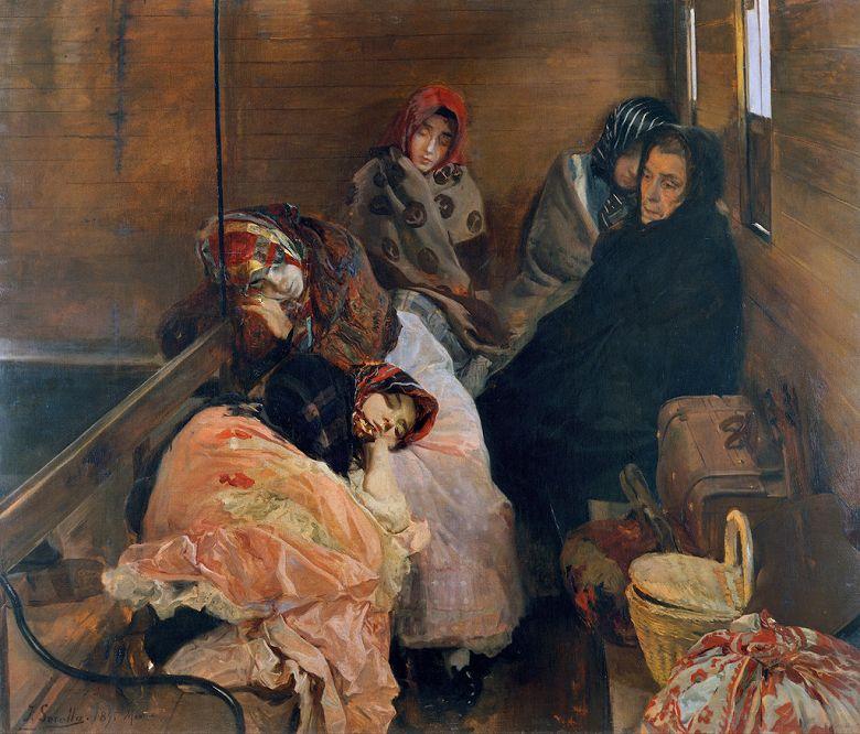 油絵 油彩画 絵画 複製画 ホアキン・ソローリャ 人身売買 F10サイズ F10号 530x455mm すぐに飾れる豪華額縁付きキャンバス