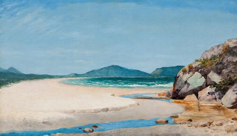 油絵 油彩画 絵画 複製画 ホセ・フェラーズ・デ・アルメイダ・ジュニア グアルジャの海風景 F10サイズ F10号 530x455mm すぐに飾れる豪華額縁付きキャンバス