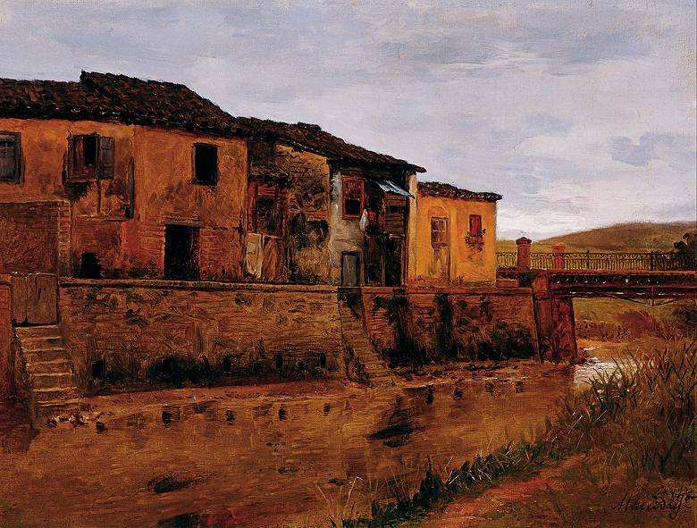 油絵 油彩画 絵画 複製画 ホセ・フェラーズ・デ・アルメイダ・ジュニア 橋 P10サイズ P10号 530x410mm すぐに飾れる豪華額縁付きキャンバス