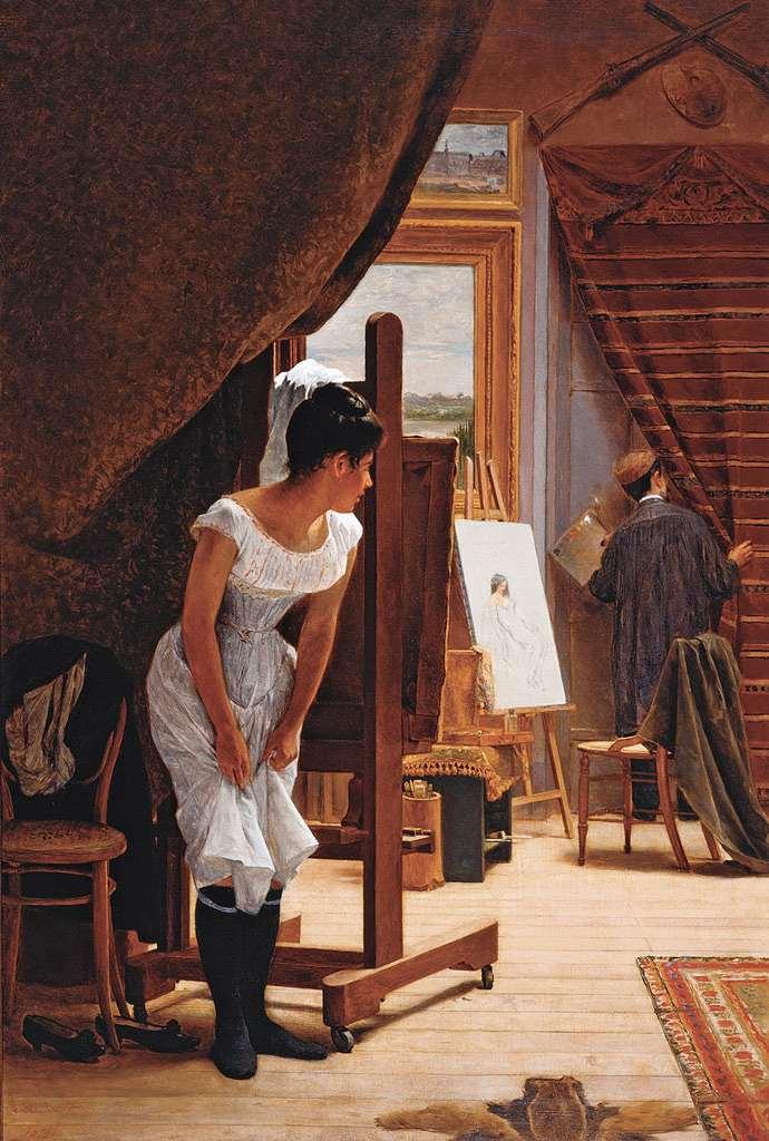 油絵 油彩画 絵画 複製画 ホセ・フェラーズ・デ・アルメイダ・ジュニア 都合が悪い P10サイズ P10号 530x410mm すぐに飾れる豪華額縁付きキャンバス