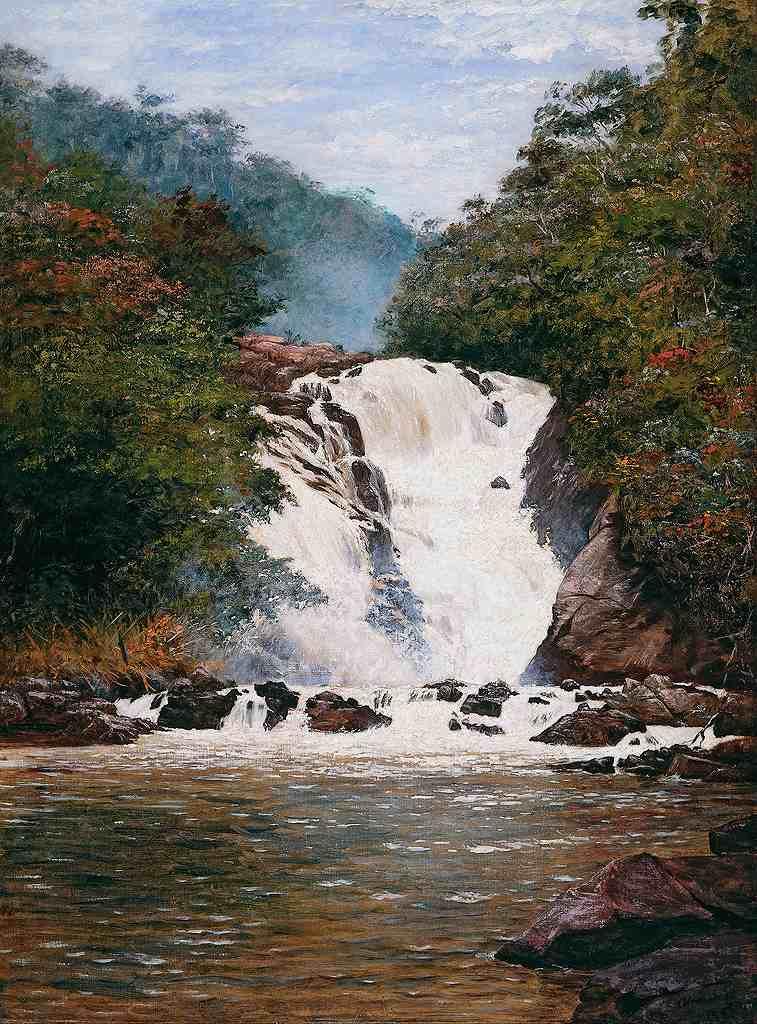 油絵 油彩画 絵画 複製画 ホセ・フェラーズ・デ・アルメイダ・ジュニア 滝 P10サイズ P10号 530x410mm すぐに飾れる豪華額縁付きキャンバス
