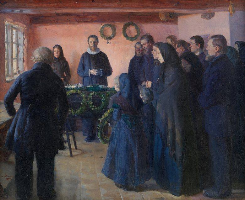 油絵 油彩画 絵画 複製画 アンナ・アンカー 葬儀 F10サイズ F10号 530x455mm すぐに飾れる豪華額縁付きキャンバス
