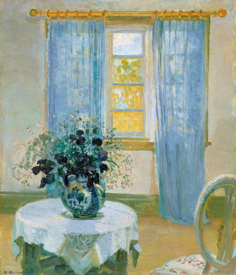 油絵 油彩画 絵画 複製画 アンナ・アンカー クレマチスのある室内 F10サイズ F10号 530x455mm すぐに飾れる豪華額縁付きキャンバス