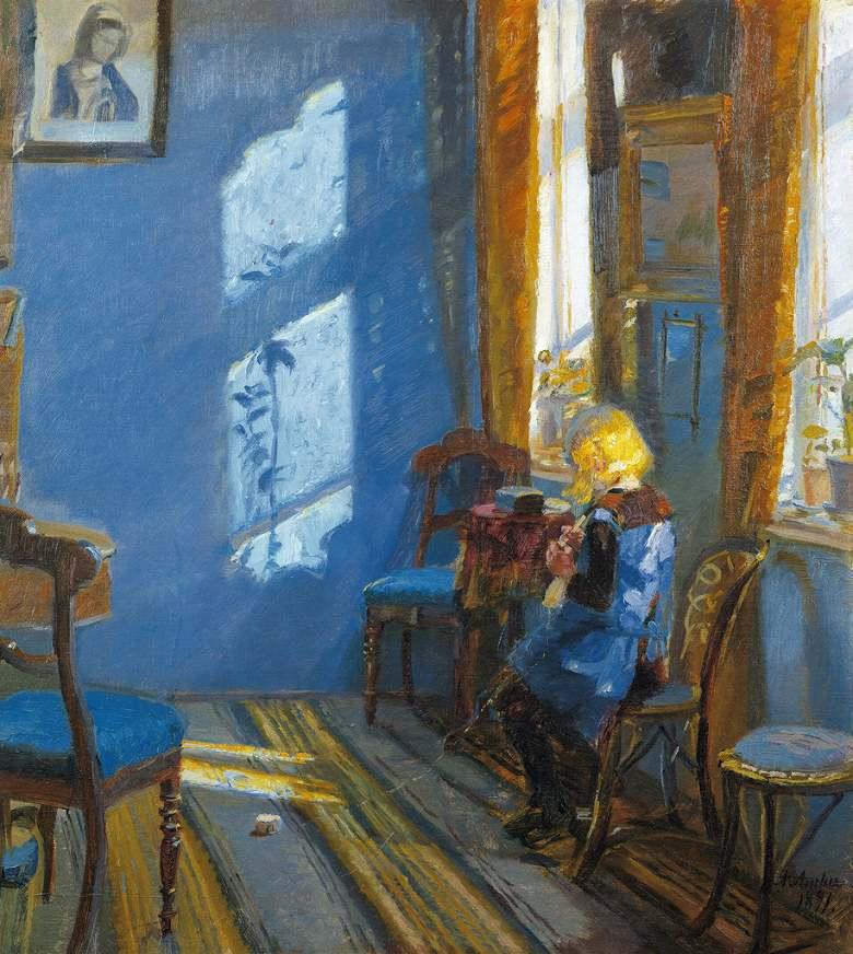 油絵 油彩画 絵画 複製画 アンナ・アンカー 青い部屋に射し込む日光 F10サイズ F10号 530x455mm すぐに飾れる豪華額縁付きキャンバス