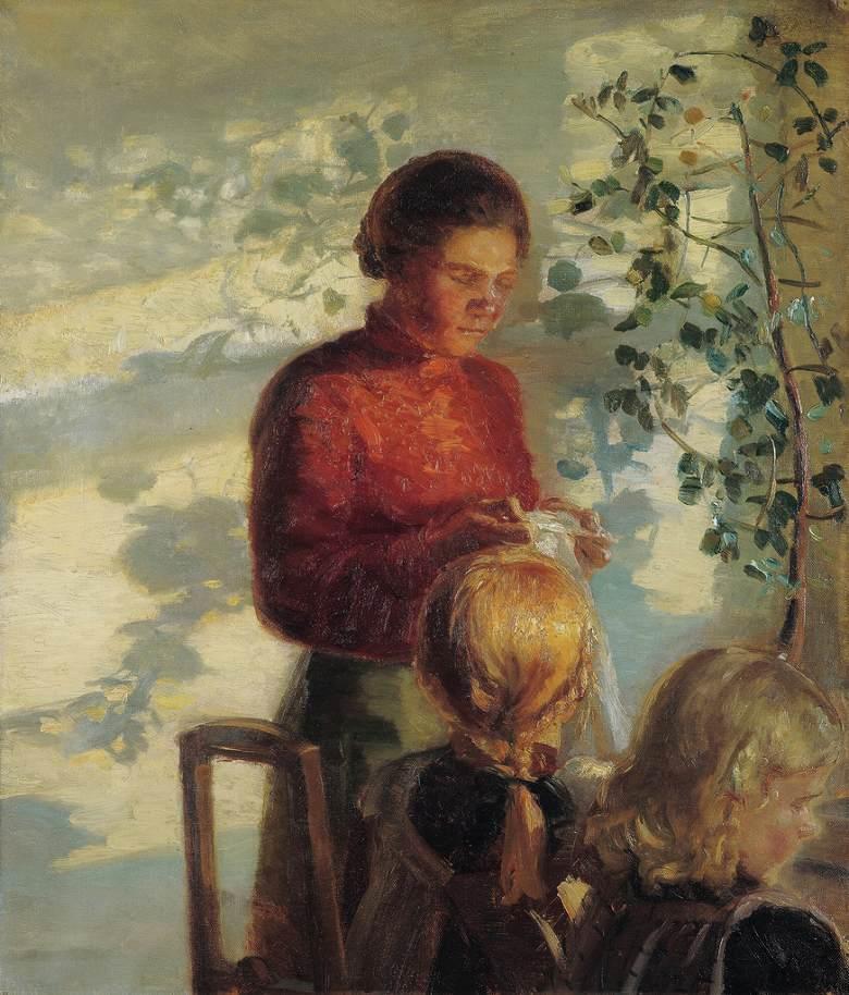 アンナ・アンカー 縫い方を教わる二人の少女 F30サイズ F30号 910x727mm 絵画 インテリア 額入り 壁掛け複製油絵アンナ・アンカー